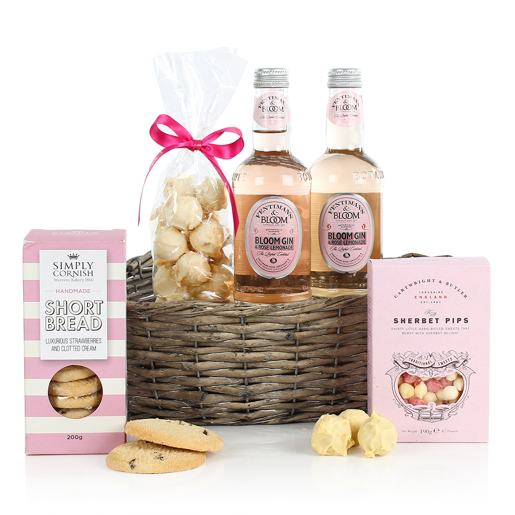 Pink Gin and Treats Basket